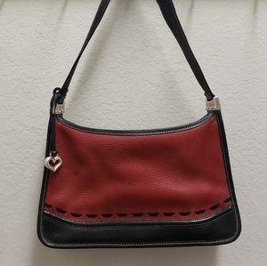 Brighton Handbag Red Black Leather Zipper Closure